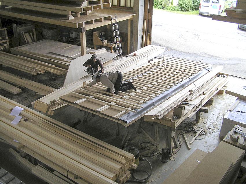 Holzbausystem in der Vorproduktion